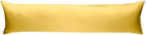 Mako-Satin Seitenschläferkissen Bezug uni / einfarbig gelb 40x145 cm von Bettwaesche-mit-Stil