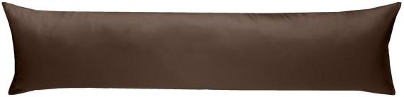 Mako-Satin Seitenschläferkissen Bezug uni / einfarbig Dunkelbraun 40x145 cm von Bettwaesche-mit-Stil