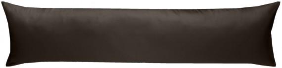Mako-Satin Seitenschläferkissen Bezug uni / einfarbig Espresso Braun 40x145 cm von Bettwaesche-mit-Stil