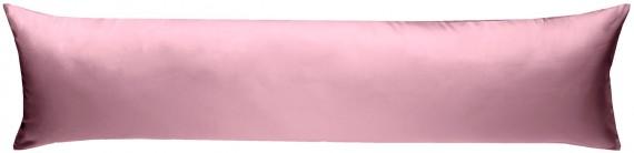 Mako-Satin Seitenschläferkissen Bezug uni / einfarbig rosa 40x145 cm von Bettwaesche-mit-Stil