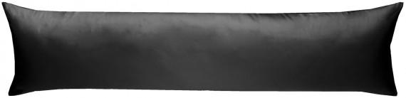 Mako-Satin Seitenschläferkissen Bezug uni / einfarbig schwarz 40x145 cm von Bettwaesche-mit-Stil