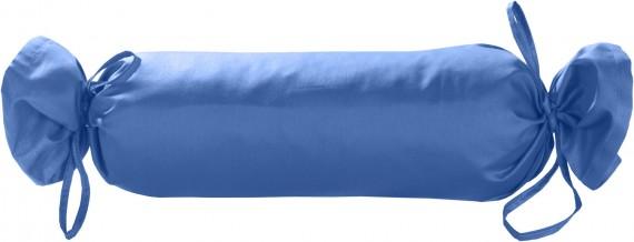Mako-Satin / Baumwollsatin Nackenrollen Bezug uni / einfarbig hellblau 15x40 cm mit Bändern