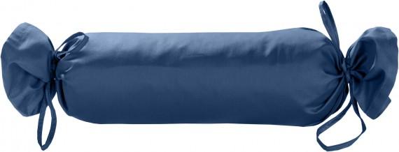 Mako-Satin / Baumwollsatin Nackenrollen Bezug uni / einfarbig Jeans Blau 15x40 cm mit Bändern