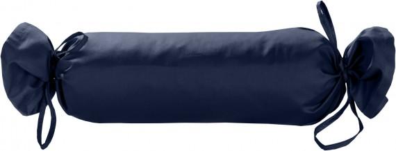 Mako-Satin / Baumwollsatin Nackenrollen Bezug uni / einfarbig dunkelblau 15x40 cm mit Bändern