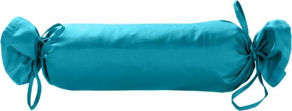 Mako-Satin / Baumwollsatin Nackenrollen Bezug uni / einfarbig türkis 15x40 cm mit Bändern