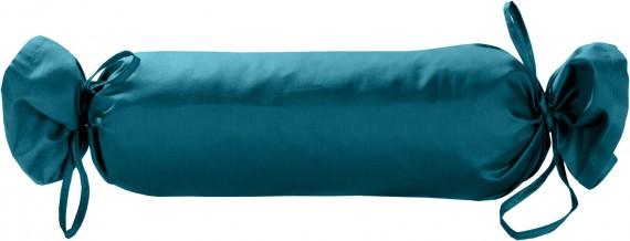 Mako-Satin / Baumwollsatin Nackenrollen Bezug uni / einfarbig petrol blau 15x40 cm mit Bändern