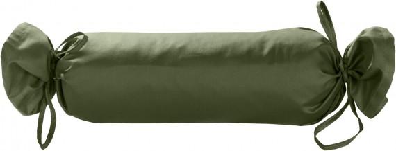 Mako-Satin / Baumwollsatin Nackenrollen Bezug uni / einfarbig dunkelgrün 15x40 cm mit Bändern
