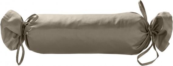Mako-Satin / Baumwollsatin Nackenrollen Bezug uni / einfarbig braun 15x40 cm mit Bändern
