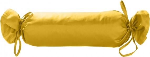 Mako-Satin / Baumwollsatin Nackenrollen Bezug uni / einfarbig gelb 15x40 cm mit Bändern