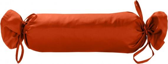 Mako-Satin / Baumwollsatin Nackenrollen Bezug uni / einfarbig orange 15x40 cm mit Bändern