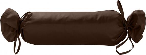Mako-Satin / Baumwollsatin Nackenrollen Bezug uni / einfarbig dunkelbraun 15x40 cm mit Bändern