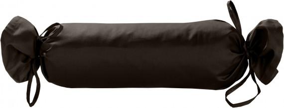 Mako-Satin / Baumwollsatin Nackenrollen Bezug uni / einfarbig Espresso Braun 15x40 cm mit Bändern
