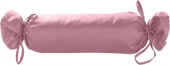 Mako-Satin / Baumwollsatin Nackenrollen Bezug uni / einfarbig rosa 15x40 cm mit Bändern