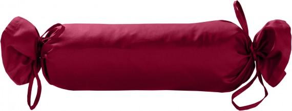 Mako-Satin / Baumwollsatin Nackenrollen Bezug uni / einfarbig pink 15x40 cm mit Bändern