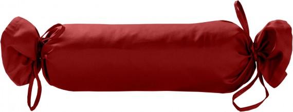 Mako-Satin / Baumwollsatin Nackenrollen Bezug uni / einfarbig rot 15x40 cm mit Bändern