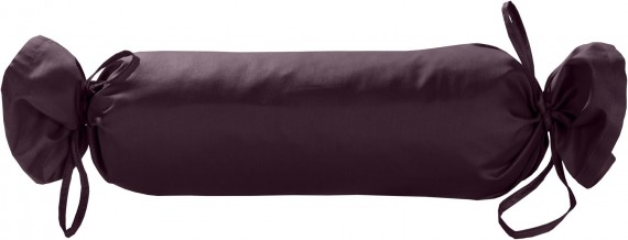 Mako-Satin / Baumwollsatin Nackenrollen Bezug uni / einfarbig brombeer 15x40 cm mit Bändern