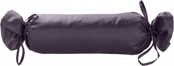 Mako-Satin / Baumwollsatin Nackenrollen Bezug uni / einfarbig lila 15x40 cm mit Bändern