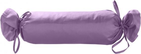 Mako-Satin / Baumwollsatin Nackenrollen Bezug uni / einfarbig flieder rosa 15x40 cm mit Bändern