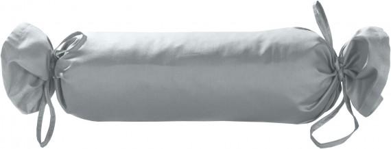 Mako-Satin / Baumwollsatin Nackenrollen Bezug uni / einfarbig grau 15x40 cm mit Bändern