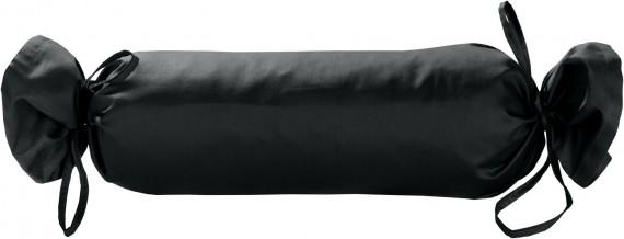 Mako-Satin / Baumwollsatin Nackenrollen Bezug uni / einfarbig anthrazit 15x40 cm mit Bändern