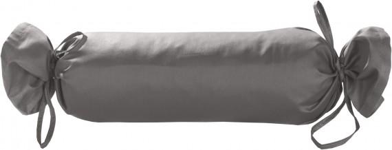 Mako-Satin / Baumwollsatin Nackenrollen Bezug uni / einfarbig dunkelgrau 15x40 cm mit Bändern