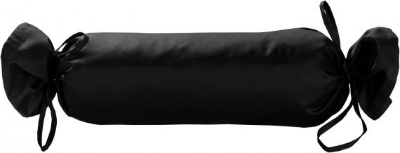 Mako-Satin / Baumwollsatin Nackenrollen Bezug uni / einfarbig schwarz 15x40 cm mit Bändern
