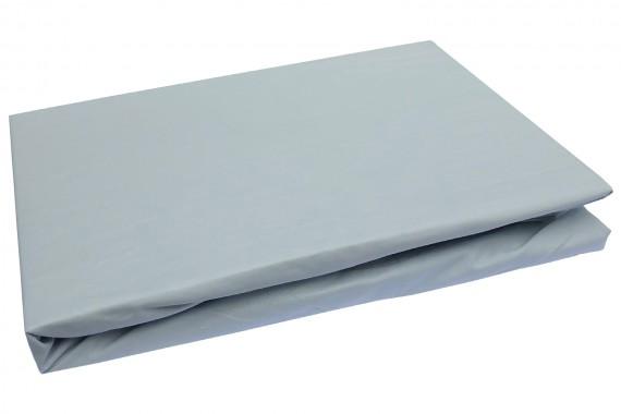 Bettwaesche-mit-Stil Mako-Perkal Spannbettlaken uni / einfarbig eis grau