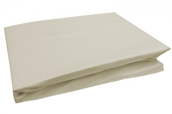 Bettwaesche-mit-Stil Mako-Perkal Spannbettlaken uni / einfarbig beige
