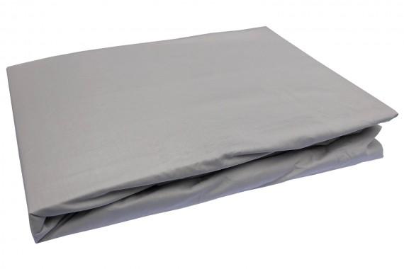 Bettwaesche-mit-Stil Mako-Perkal Spannbettlaken uni / einfarbig taupe-braun