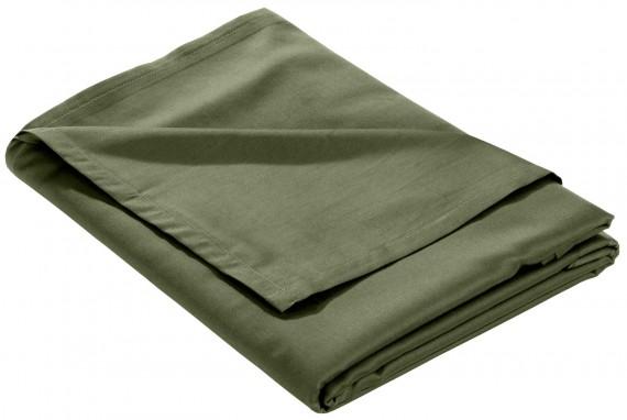 Mako Satin Bettlaken ohne Gummizug dunkelgrün