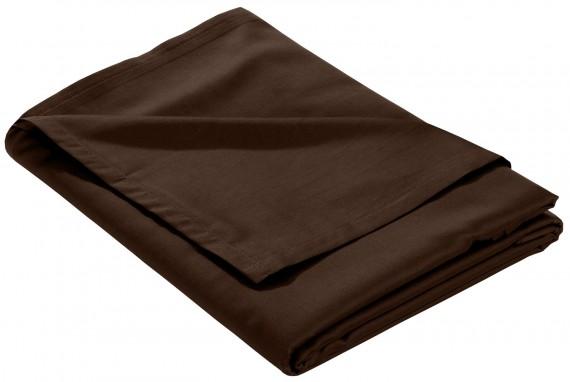 Mako Satin Bettlaken ohne Gummizug dunkelbraun