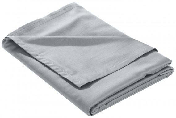 Mako Satin Bettlaken ohne Gummizug grau