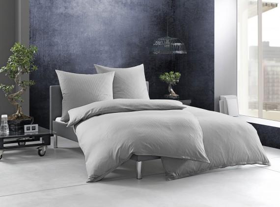 """Bettwaesche-mit-Stil Mako-Satin Damast  Streifen Bettwäsche """"Linea"""" grau 4mm gestreift"""