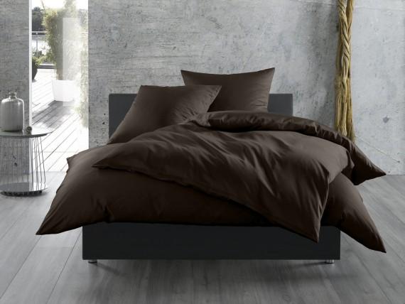 Bettwaesche-mit-Stil Mako-Satin / Baumwollsatin Bettwäsche uni / einfarbig Espresso Braun