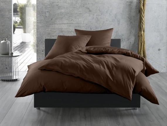 Bettwaesche-mit-Stil Mako-Satin / Baumwollsatin Bettwäsche uni / einfarbig Dunkelbraun