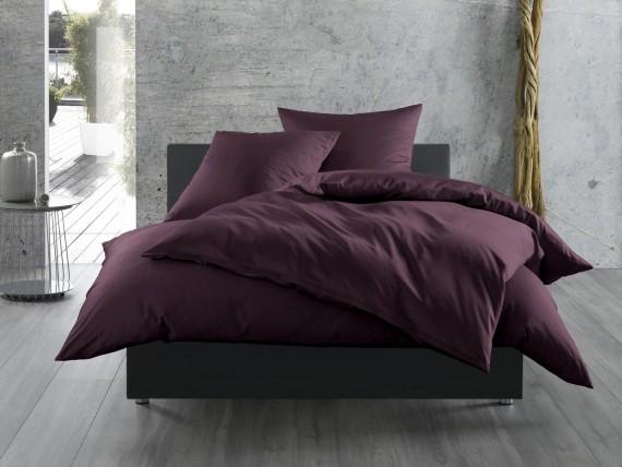 Bettwaesche-mit-Stil Mako-Satin / Baumwollsatin Bettwäsche uni / einfarbig brombeer