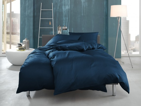 """Bettwaesche-mit-Stil Mako Interlock Jersey Bettwäsche """"Ina"""" uni/einfarbig royal blau"""