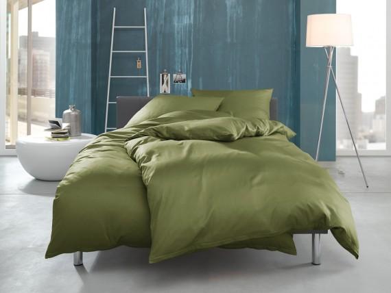 """Bettwaesche-mit-Stil Mako Interlock Jersey Bettwäsche """"Ina"""" uni/einfarbig dunkelgrün"""