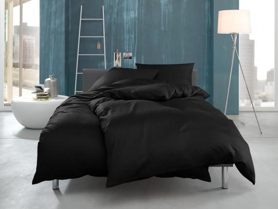 """Bettwaesche-mit-Stil Mako Interlock Jersey Bettwäsche """"Ina"""" uni/einfarbig schwarz"""