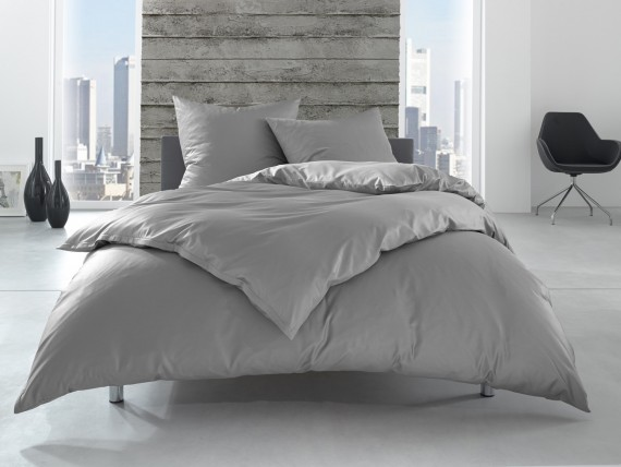 Bettwaesche Mit Stil Renforcé Linon Hotelbettwäsche Lia 100 Baumwolle Grau Uni Einfarbig