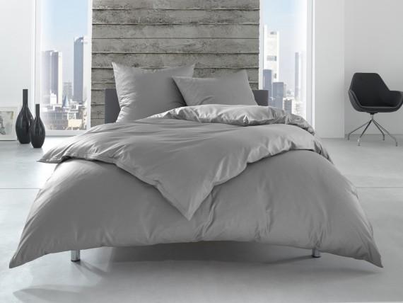 Bettwaesche-mit-Stil Linon 100% Baumwolle Hotelbettwäsche Lia mit Reißverschluss uni grau einfarbig