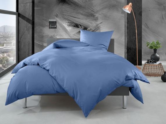 Bettwaesche-mit-Stil Mako Perkal Bettwäsche uni / einfarbig hellblau