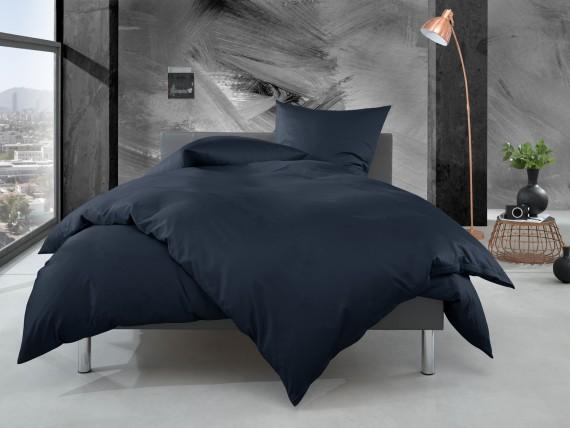 Bettwaesche-mit-Stil Mako Perkal Bettwäsche uni / einfarbig dunkelblau