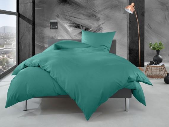 Bettwaesche-mit-Stil Mako Perkal Bettwäsche uni / einfarbig petrol grün Garnitur 135x200 + 80x80 cm