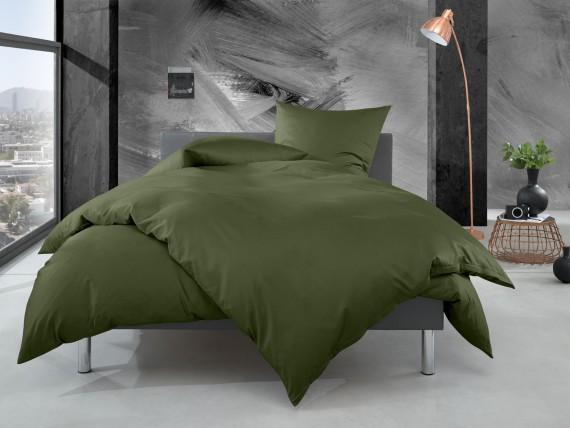 Bettwaesche-mit-Stil Mako Perkal Bettwäsche uni / einfarbig dunkelgrün