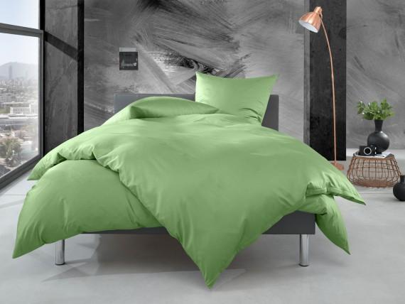 Bettwaesche-mit-Stil Mako Perkal Bettwäsche uni / einfarbig hellgrün