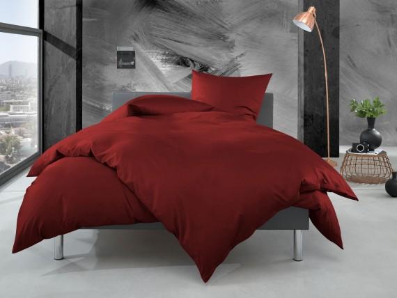 Bettwaesche-mit-Stil Mako Perkal Bettwäsche uni / einfarbig rot