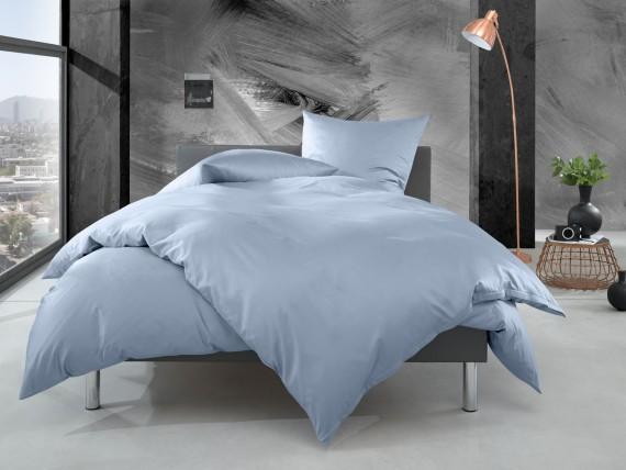 Bettwaesche-mit-Stil Mako Perkal Bettwäsche uni / einfarbig blau