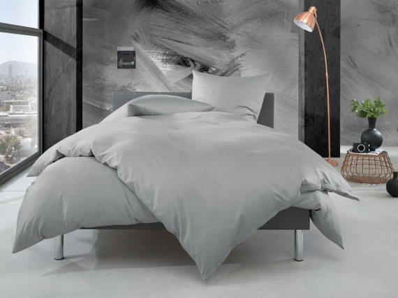 Bettwaesche-mit-Stil Mako Perkal Bettwäsche uni / einfarbig grau