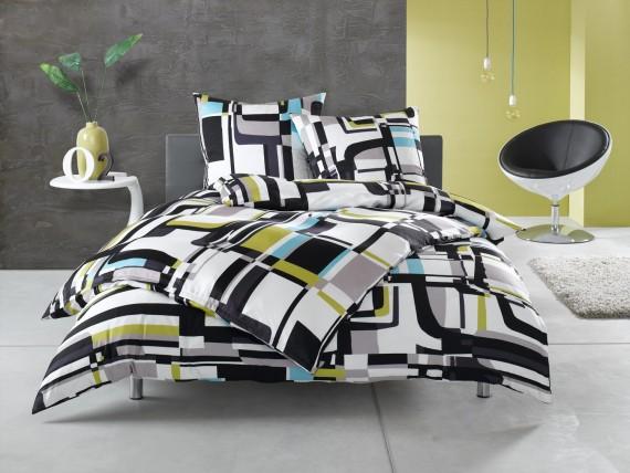 Moderne Mako Satin Karo Bettwäsche schwarz weiß von Bettwaesche-mit-Stil